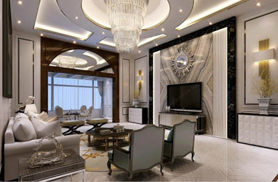 <b>南阳私人自建别墅460平方新古典风格装修设计作</b>