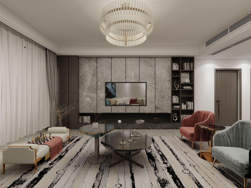 <b>南阳清华园小区装修138平方现代风格装修图</b>